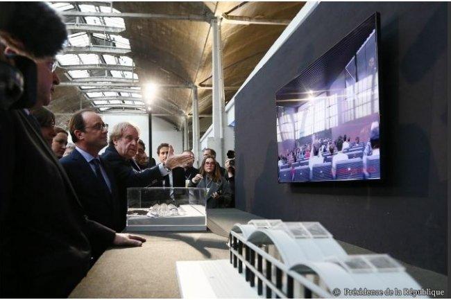 La Halle Freyssinet va accueillir en 2016 un millier de start-ups du numérique (ci-dessus, François Hollande, président de la République, en compagnie de l'architecte Jean-Michel Wilmotte / Crédit : Présidence de la République)