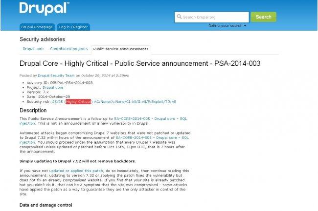 Si le correctif diffus� le 15 octobre dernier par le projet Drupal n'a pas �t� appliqu� � temps, l'�quipe de s�curit� du CMS conseille de restaurer les sites web � partir d'une sauvegarde ant�rieure ou les reconstruire.
