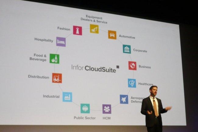 Stephan Scholl, co-pr�sident d'Infor, pr�sente les d�clinaisons verticales de la CloudSuite d'Infor, hier sur Inforum Paris 2014, � Paris. (cr�dit : LMI)