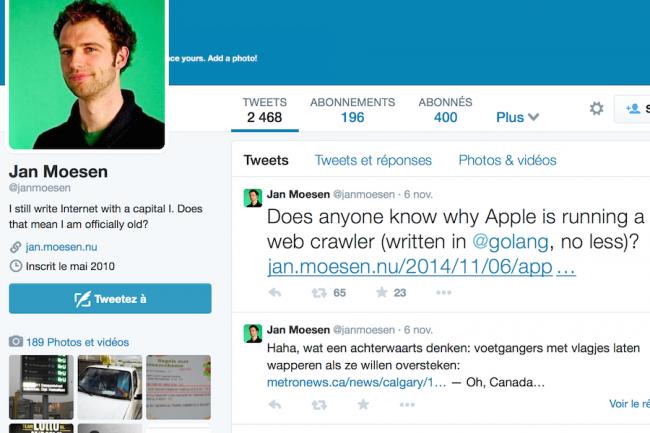 Un développeur hollandais, Jan Moesen, a repéra un mystérieux robot indexant le web depuis une adresse IP d'Apple.