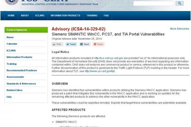 Plusieurs produits SCADA de Siemens doivent être mis à jour : différentes versions des solutions SIMANTIC WinCC et PCS7 et toutes les versions du TIA Portal V13 avant la V13. (ci-dessus le bulletin de l'ICS-Cert)