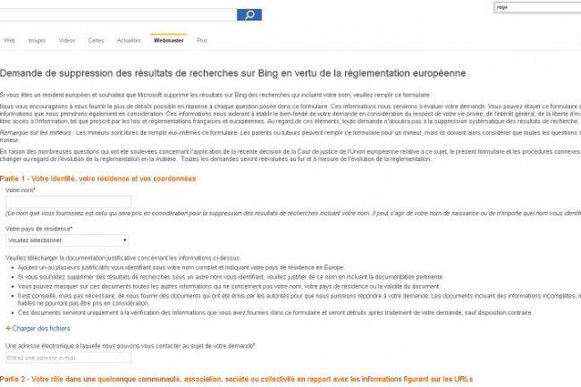700 demandes de désidexation ont été faites sur Bing. (Cliquer sur l'image / Crédit: D.R.)