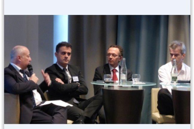 Les grands témoins de l'étape toulousaine de l'IT Tour 2014 avec (de gauche à droite) : Alain Rabary (Elu de la CCI de Toulouse en charge des TIC), Laurent Verbiguié (DSI de l'Aéroport de Toulouse Blagnac), Christophe Guillot (DSI adjoint de Pierre Fabre) et Olivier Vigand (DSI du Groupe des Chalets). (crédit : LMI)