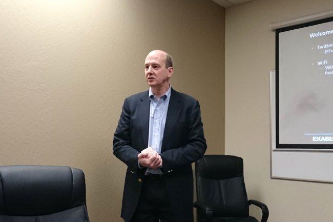 Doug Brockett, CEO de la start-up Exablox à Sunnyvale. (crédit : LMI)