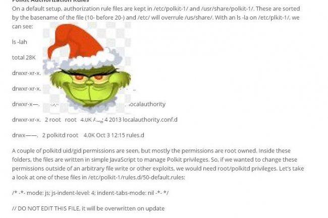 Selon Red Hat, Grinch n'est pas un bug, Linux a �t� con�u pour fonctionner de cette fa�on avec PolKit.