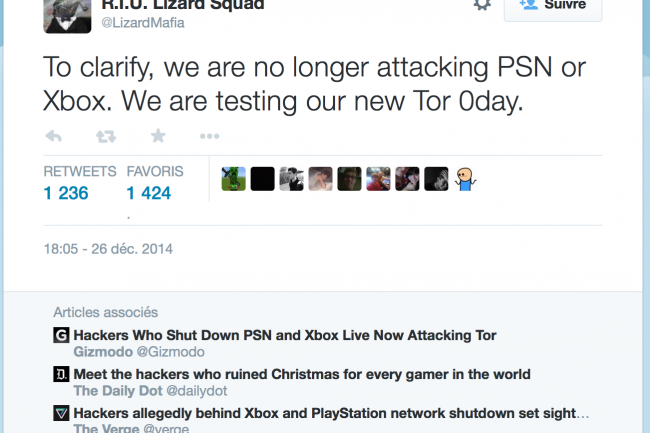 Le groupe Lizard Squad a revendiqué la panne de Tor dans un tweet.