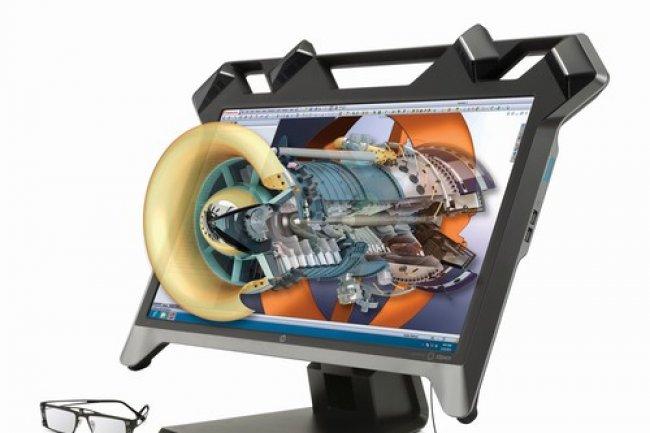 A l'aide d'un stylet, les utilisateurs peuvent manipuler (agrandir, déplacer, tourner…) des objets 3D projetés devant l'écran. (crédit : D.R.)