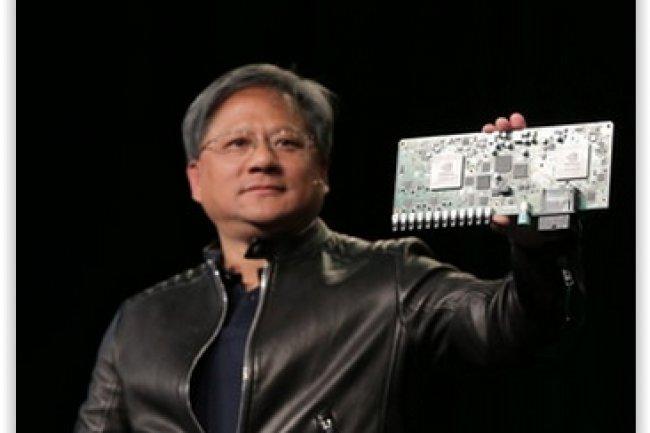 Jen-Hsun Huang, CEO de Nvidia, a présenté la plateforme Drive PX taillée pour le calcul intensif des projets de développement pour voitures connectées et autonomes. (crédit : D.R.)