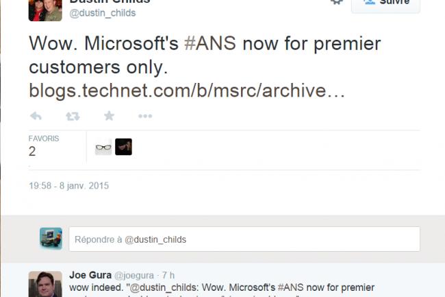 Dustin Childs, un responsable de la com de Microsoft, se félicite dans un tweet de la modification des alertes ANS. (crédit : D.R.)