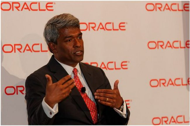 Thomas Kurian, d�sormais pr�sident d'Oracle, lors d'une session de questions/r�ponses sur OpenWorld 2014, � San Francisco, du 27 septembre au 2 octobre. (cr�dit : Oracle)