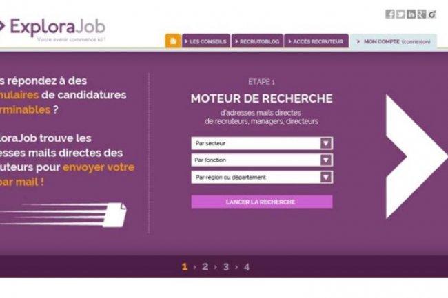Le site ExploraJob trouve directement les adresses mails des recruteurs pour l'envoi des candidatures spontanées. Crédit: D.R