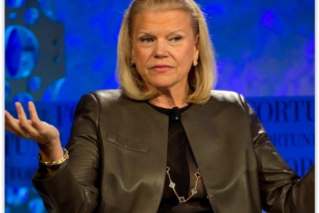 Sur 2014, le chiffre d'affaires d'IBM dirig� par Virginia Rometty a baiss� de 6% et le r�sultat net de 7%. (cr�dit : D.R.)