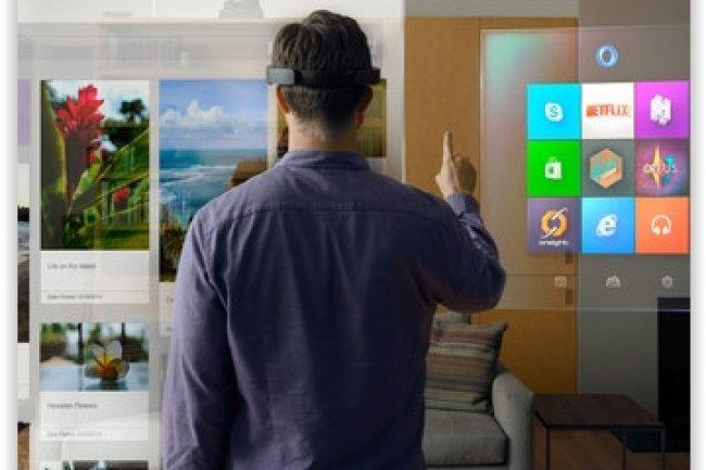 Aucune date de commercialisation n'a encore été précisée pour le casque de réalité virtuelle de Microsoft HoloLens. (crédit : Microsoft)