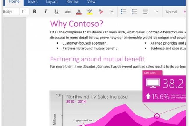 Office pour Windows 10 a été pensé pour les terminaux mobiles et tactiles. (crédit : D.R.)