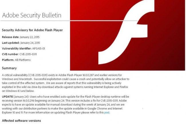 Déjà diffusée vers certains utilisateurs, la mise à jour 16.0.0.296 du lecteur Flash d'Adobe est également disponible au téléchargement. (crédit : D.R.)