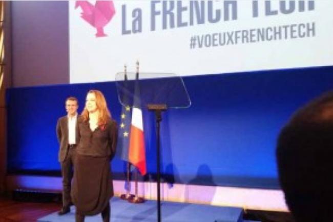 Emmanuel Macron, ministre de l'Economie, de l'Industrie et du Numérique, avec Axelle Lemaire, secrétaire d'Etat à l'Economie Numérique.