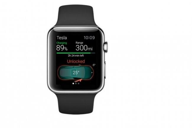 Un coup d'oeil à sa Watch pour connaître le niveau de charge de sa batterie. Une app utile pour le conducteur d'une Tesla Model S. (crédit : Eleks)