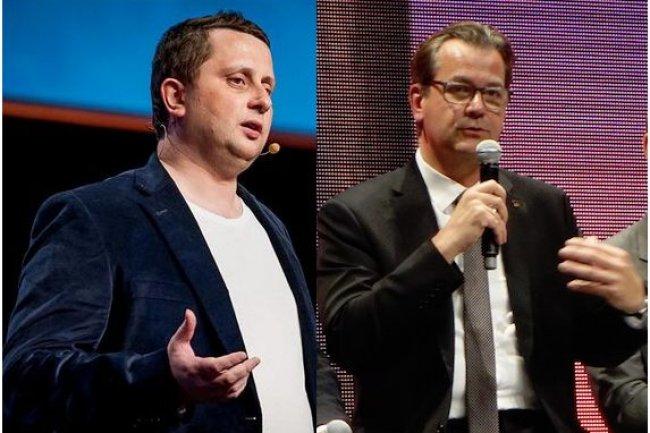 Octave Klaba, fondateur d'OVH, à gauche, et Laurent Allard, qui lui succède au poste de CEO de la société. (photographiés lors de l'OVH Summit 2014 - crédit : LMI)