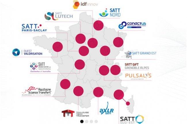 Les 14 premières SATT (sociétés d'accélération du transfert de technologies) réunissent un fonds de maturation des projets de plus de 850 millions. (crédit : Satt.fr)