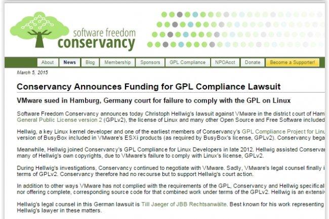 La Software Freedom Conservancy soutient la démarche de Christoph Hellwig contre VMware. (crédit : D.R.)
