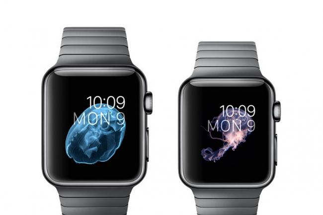 La keynote de pr�sentation d'Apple pour la Watch �tait assez pauvre en annonces. On retient surtout le prix du mod�le 42 mm avec bracelet m�tal, pr�s de 1200�. (cr�dit : D.R.)