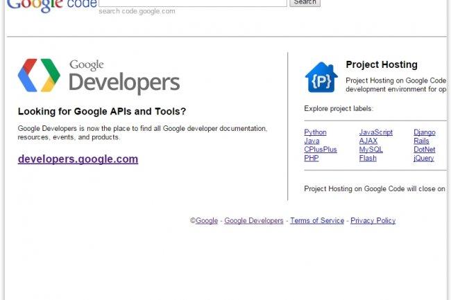 Google ferme Code, sa plateforme d'hébergements de projets Open Source. (crédit : D.R.)