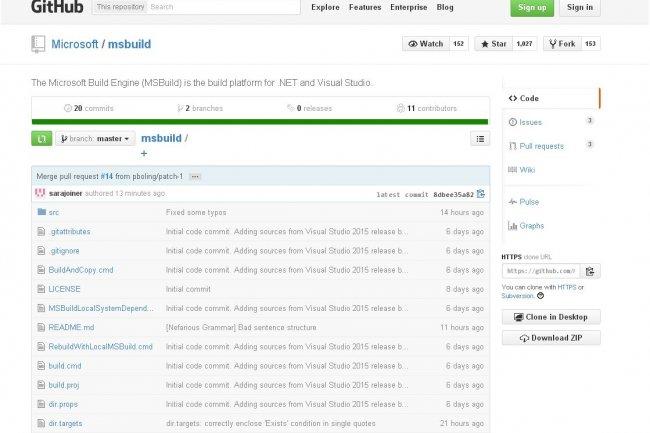 Build Engine, la plateforme de build par d�faut pour .Net et Visual Studio, est arriv�e sur le r�f�rentiel GitHub. (cr�dit : D.R.)