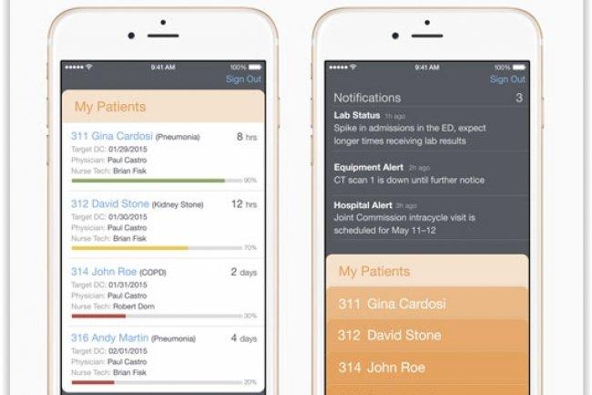 Parmi les nouvelles apps iOS issues de l'alliance Apple-IBM, on trouve Hospital RN pour faciliter le travail des infirmi�res. (cr�dit : D.R.)