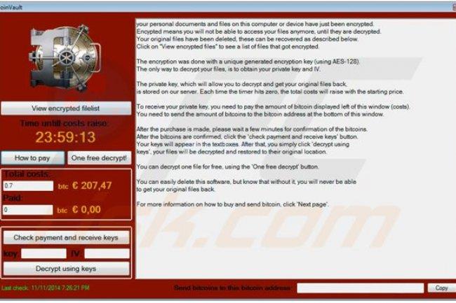 CoinVault  s'installe après une campagne de phishing qui incite les utilisateurs à ouvrir des courriels malveillants. (Crédit D.R.)