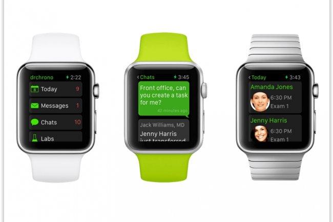 Alors que le lancement de la Watch est prévu le 24 avril, de nombreuses apps, comme celles de drchrono pour le secteur de la santé, sont d'ores et déjà disponibles. (crédit : D.R.)