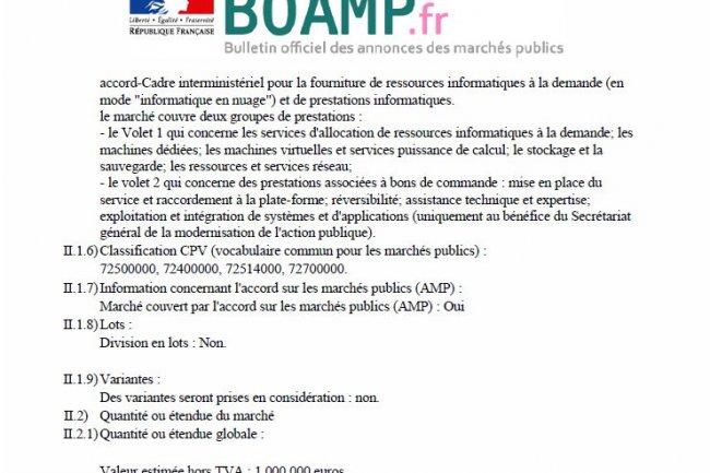 Le 1er appel d'offres de l'Etat portant sur des ressources informatiques dans le cloud public comporte 2 volets : les services cloud proprement dits et les prestations associées. (crédit : BOAMP)