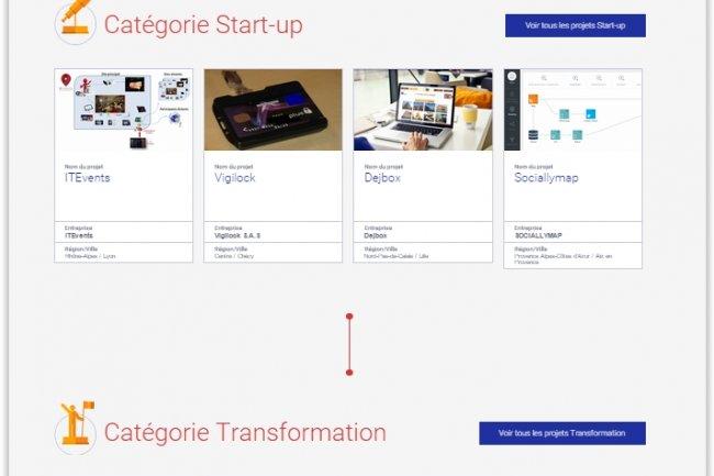 Les projets Start-up, Transformation et Grand Prix sont consultables sur le site France Entreprise Digital.