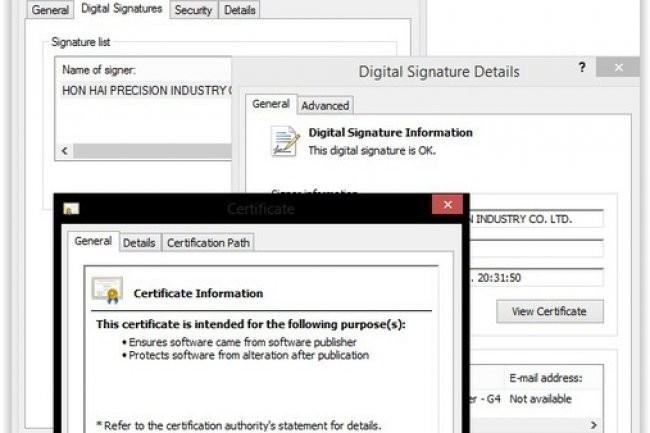 Kaspersky Labs a indiqué que la dernière version du malware Duqu utilise un certificat numérique en provenance de Foxconn. (crédit : D.R.)