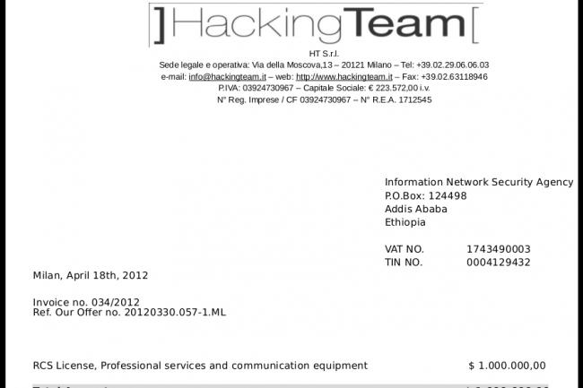 Parmi les 400 Go de données piratées appartenant à Hacking Team, on trouve des factures en tout genre. (crédit : D.R.)