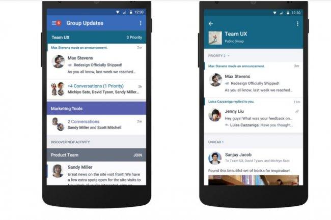 La version de Yammer pour terminaux mobiles donne la possibilité de visualiser plusieurs conversations sur une seule page. Crédit: D.R