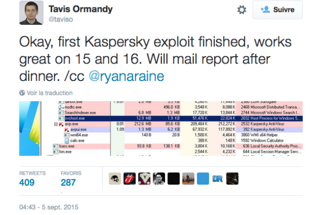 Tavis Ormandy, un chercheur en sécurité de Google, a publié la faille avant de prevenir Kaspersky Lab.