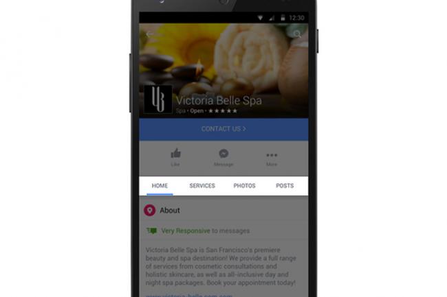 Un menu fait son apparition sous la photo de couverture des pages Facebook des entreprises, il permet aux clients de contacter directement l'entreprise ou de faire des achats sans quitter le site.