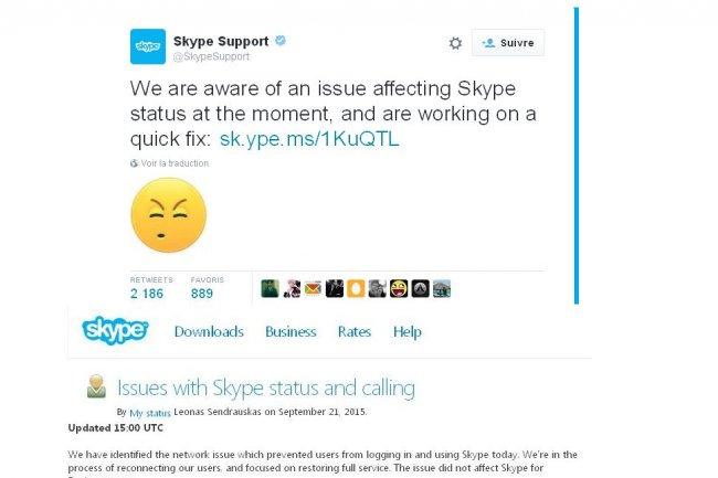 Des réunions via Skype n'ont pas pu se tenir aujourd'hui en raison d'une panne du service.