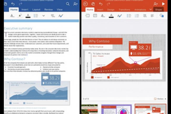 Office 365 est propos� gratuitement pour les terminaux mobiles dont la taille d'�cran ne d�passe pas 10,1 pouces. (cr�dit : D.R.)