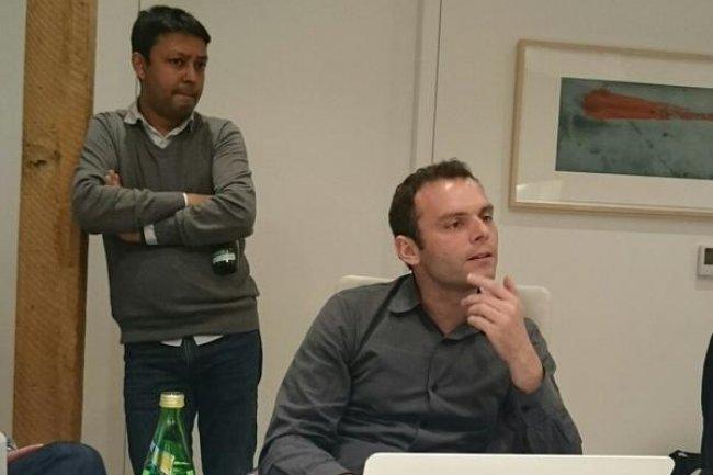 Oliver Pomel (au 1er plan), co-fondateur et CEO de Datadog, et Amit Agarwal, chief product officer. (crédit : LMI)