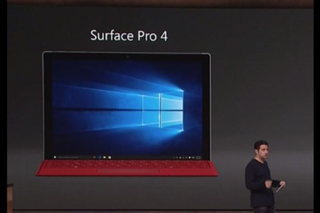 La Surface Pro 4 sera disponible en pré-commande le 7 octobre, pour une disponibilité le 26 octobre à un tarif débutant à 899 dollars. (crédit : D.R.)