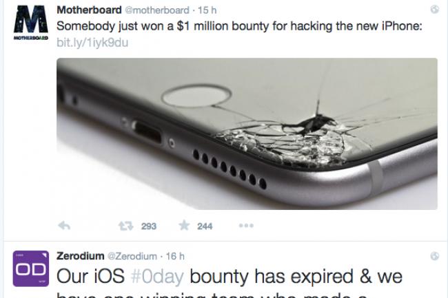 Pour faire sa promotion, Zerodium a lancé un concour à 1 million de dollars pour casser iOS 9.1.
