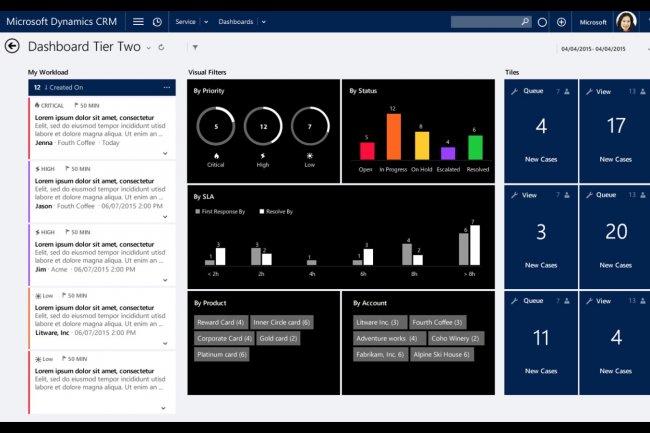 Dans Dynamics CRM 2016, des tableaux de bord fourniront en temps réel une vue unifiée sur la charge de travail des conseillers d'un centre de contacts chargé du service aux clients. (crédit : D.R.)