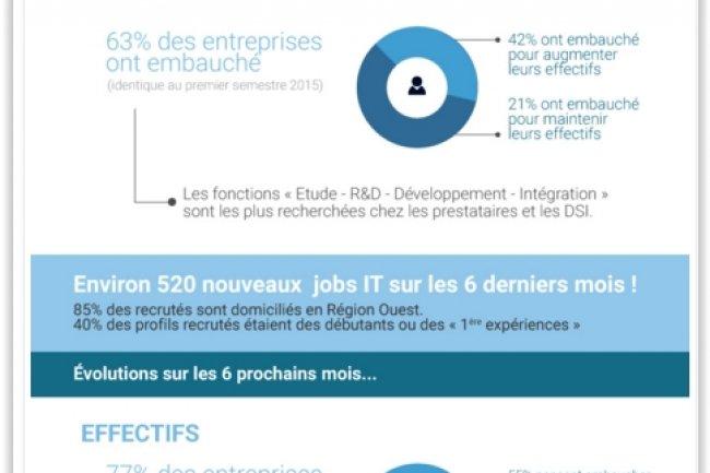 Sur les 6 derniers mois, 520 emplois IT ont été proposés par 70 entreprises de la région Pays de la Loire et pourvus. (crédit : A2JV)