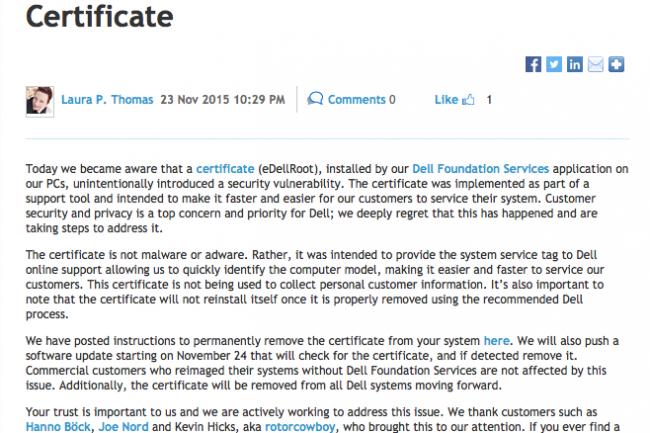 Sans détour, Dell admet que le certificat eDellRoot est à l'origine d'un vrai problème de sécurité sur ses machines. (crédit : D.R.)