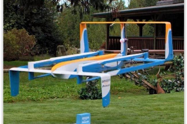 Le dernier modèle de drone livreur de colis présenté par Amazon peut voler sur 24 kilomètres. (crédit : D.R.)