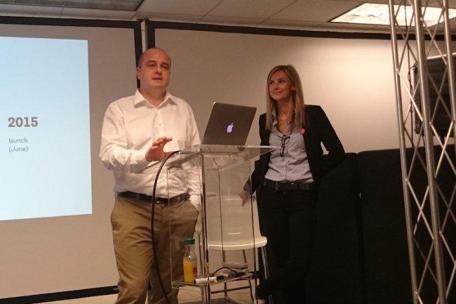 Laurent Denel, CEO et cofondateur d'OpenIO, et Marie Ponseel, COO et également cofondatrice, à San Francisco le 30 novembre dernier.