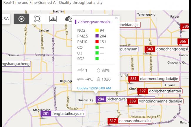 Microsoft propose avec UrbanAir un site web permettant de connaître le taux de pollution de l'air de nombreuses villes chinoises. (crédit : D.R.)