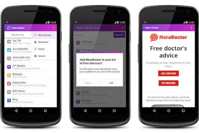 La plate-forme Free Basics de Facebook propose un ensemble de services mais pas un accès complet à Internet. (crédit : D.R.)